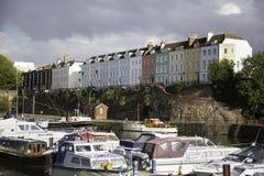 Bunte Häuser in Bristol-Stadt Lizenzfreie Stockfotos
