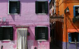 Bunte Häuser in Burano-Insel, Venedig, Italien Stockfotografie