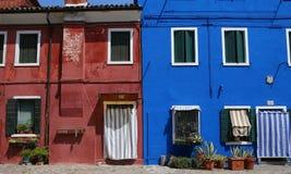 Bunte Häuser in Burano-Insel, Venedig, Italien Lizenzfreie Stockbilder