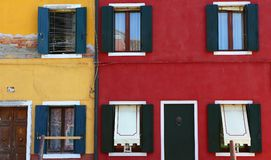 Bunte Häuser in Burano-Insel, Venedig, Italien Lizenzfreies Stockbild