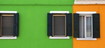 Bunte Häuser in Burano-Insel, Venedig, Italien Lizenzfreie Stockfotos