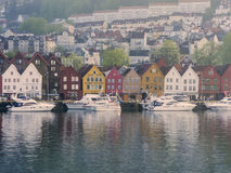 Bunte Häuser an der Seefront, Bergen, Norwegen stockbilder