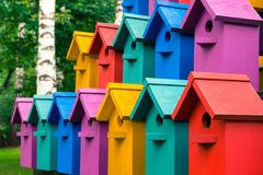 Bunte Häuser für Vögel Bunte Häuser für Vögel Lizenzfreies Stockfoto