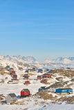 Bunte Häuser in Grönland Lizenzfreie Stockbilder