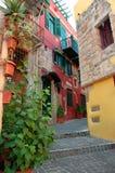 Bunte Häuser in Gran-Kanarienvogel stockbild