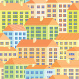 Bunte Häuser - nahtloses Muster Stock Abbildung