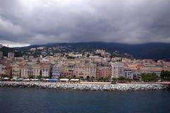 Bunte Häuser von Bastia Stockfoto