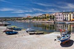 Bunte Häuser von Bosa (Sardinien) Stockfotografie
