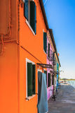 Bunte Häuser von Burano Lizenzfreie Stockbilder
