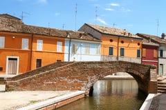 Bunte Häuser von Comacchio Lizenzfreie Stockbilder