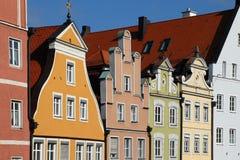 Bunte Häuser von Landshut Stockfoto