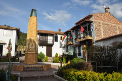 Bunte Häuser von Pueblito Boyacense, Boyaca, Kolumbien Stockbild