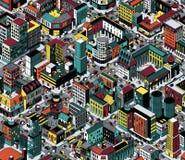 Bunte Häuserblock-isometrisches nahtloses Muster - mittlere Größe lizenzfreie abbildung