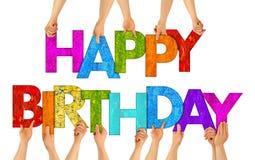Bunte hölzerne Buchstaben alles Gute zum Geburtstag vektor abbildung