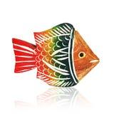 Bunte hölzerne Spielzeugfische Stockbild