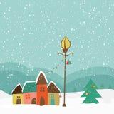 Bunte Hütten mit Weihnachtsbaum für frohe Weihnachten vektor abbildung