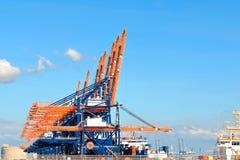Bunte Hafenkräne im Hafen von Rotterdam Lizenzfreie Stockfotografie