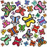 Bunte Hand gezeichnete Gekritzel-Schmetterlinge lizenzfreie stockfotos