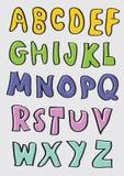 Bunte Hand gezeichnete Karikatur-Alphabete eingestellt Stockbilder