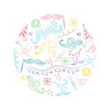 Bunte Hand gezeichnete Partei-Symbole vereinbart in einem Kreis Kinderzeichnungen von Maskerade-Elementen Laptop- und Blinkenleuc Lizenzfreie Stockfotografie