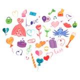 Bunte Hand gezeichneter Satz Valentinsgruß ` s Tagessymbole Kind-` s steigt lustige Gekritzel-Zeichnungen von Herzen, Geschenke,  Lizenzfreies Stockfoto