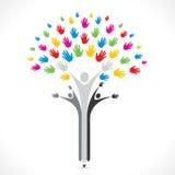 Bunte Handbleistift-Baumunterstützung oder vereinigtes Konzept vektor abbildung