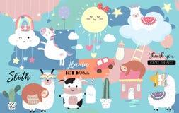 Bunte Handgezogene nette Karte mit Lama, Regenbogen, Einhorn, Trägheit, Wolke, Sonne, Kuh Kein Dramalama lizenzfreie abbildung