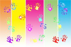 Bunte handprints durch Kinder Lizenzfreies Stockfoto