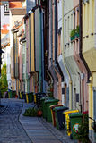 Bunte Hausfassaden-Stadtszene Augsburg Stockbild