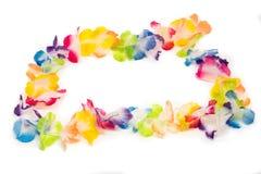 Bunte hawaiische Blumen-Halskette Stockfotos