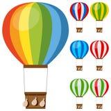 Bunte Heißluft steigt Sammlung im Ballon auf Stockfotos