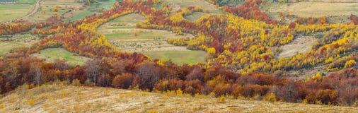 Bunte Herbstlandschaft im Bergdorf Morgen in den Karpatenbergen Lizenzfreie Stockfotografie
