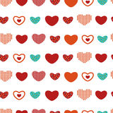 Bunte Herzen des nahtlosen Musters des Vektors Stockbild