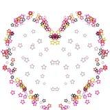 Bunte Herzillustration von den Sternen auf weißem Hintergrund Lizenzfreies Stockfoto