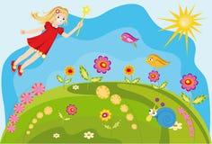 Bunte Hintergrundfee mit Blumen Stockfoto