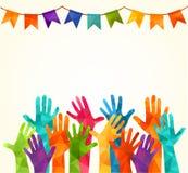 Bunte hohe Hände Vector Illustration, ein associers celation, Einheit, Partner, Firma, Freundschaft, Freundhintergrund Volunteebr vektor abbildung