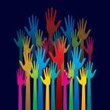 Bunte hohe Hand, Konzept der Demokratie Lizenzfreies Stockbild