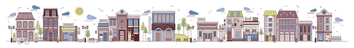 Bunte horizontale Stadtlandschaft mit Stadtstraße, -nachbarschaft oder -bezirk Stadtbild mit eleganten Gebäuden Lizenzfreie Stockbilder
