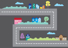 Bunte Häuser entlang Straßen-Karikatur-Stadtplan-Vektor-Illustration Lizenzfreies Stockbild
