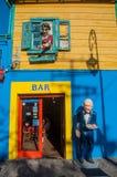 Bunte Häuser Nachbarschaft, Buenos Aires, Argentinien La Boca Stockbild