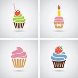 Bunte Ikonen der kleinen Kuchen Stockfotos