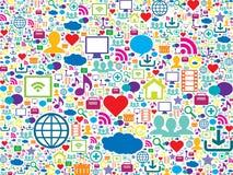 Bunte Ikonen der Technologie und des Social Media Stockbild