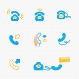 Bunte Ikonen des Telefons, Vektorillustration Lizenzfreies Stockfoto