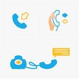 Bunte Ikonen des Telefons, Vektorillustration Stockfotos