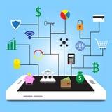 Bunte Ikonen Fintech auf weißem Smartphone lizenzfreie abbildung