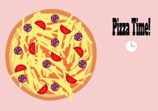 Bunte Illustration der Pizzastempeluhr lizenzfreie abbildung