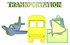 Bunte Illustration des Luft-, Land- und Wassertransportes vektor abbildung