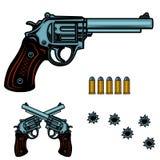 Bunte Illustration des Revolvers Gewehrkugeln und -löcher Gestaltungselement für Plakat, Emblem, Zeichen, Fahne stock abbildung