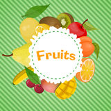 Bunte Illustration des Vektors des Fruchtemblems Lizenzfreies Stockfoto