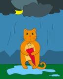 Bunte Illustration einer Katze mit Regenschirm Lizenzfreie Stockfotos